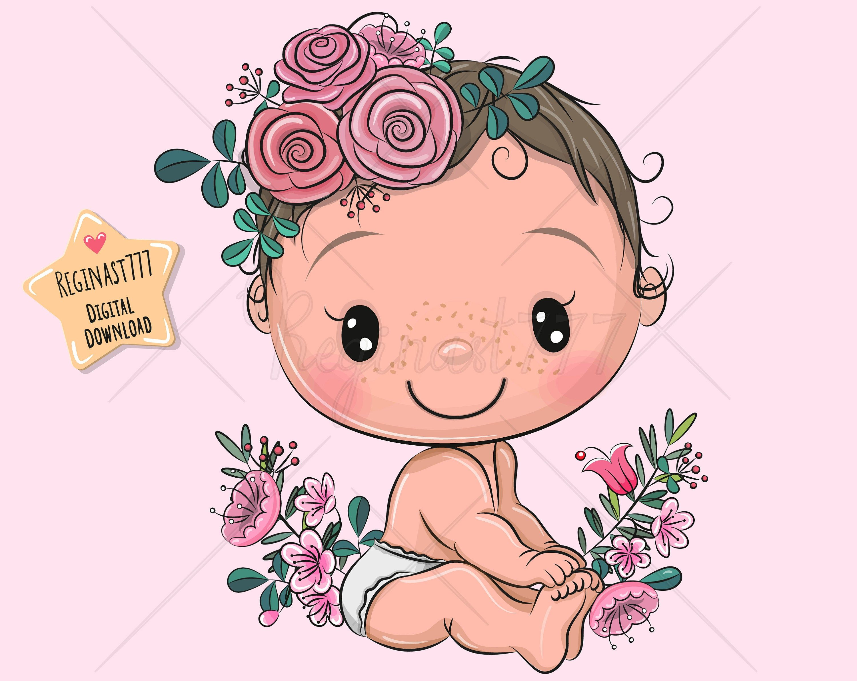 Cute Baby Clipart Png Baby Clip Art Girl Digital Download Etsy In 2021 Baby Clip Art Baby Cartoon Drawing Baby Girl Clipart