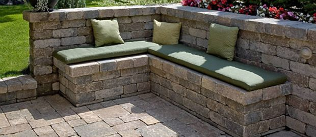 Stack Stone Bench Wall Patio Stones Wall Seating Patio
