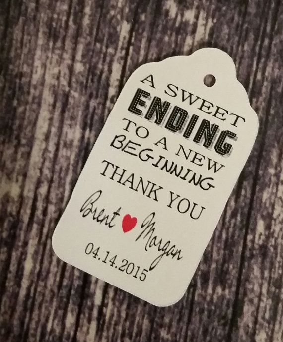 What Is An Appropriate Wedding Gift Amount: Sweet Ending To A New Beginning Thank You Favor Tag (my