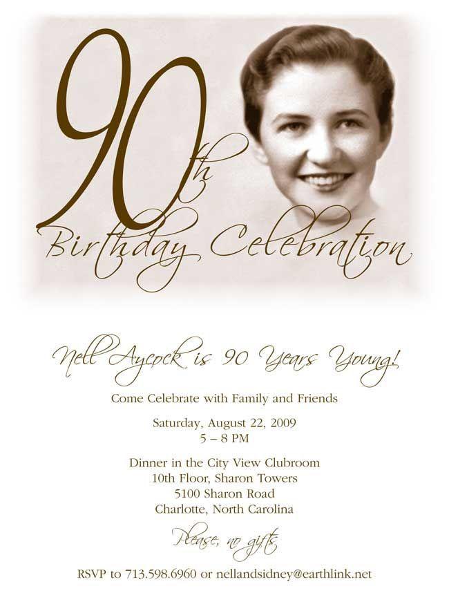 90th birthday invitations