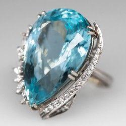 Estate 1950's Aquamarine Cocktail Ring Diamond Accents 18K White Gold
