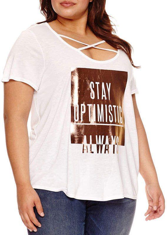 d7c18247dbc94 Boutique + + Short Sleeve Scoop Neck T-Shirt-Womens Plus
