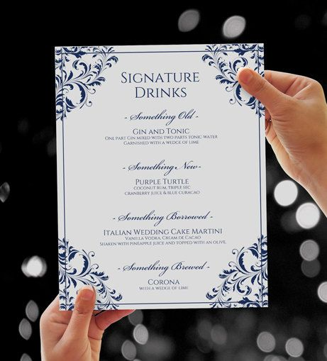 Wedding 8 x 10 Signature Drinks Sign Template by KarmaKWeddings - microsoft word sign template