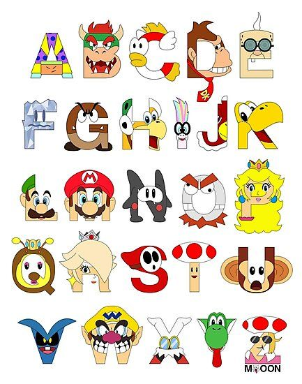 Super Mario Alphabet Photographic Print by Mike Boon