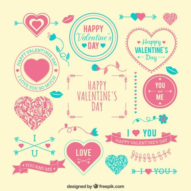 Happy Valentine\'s elements set | pics for drawing | Pinterest ...