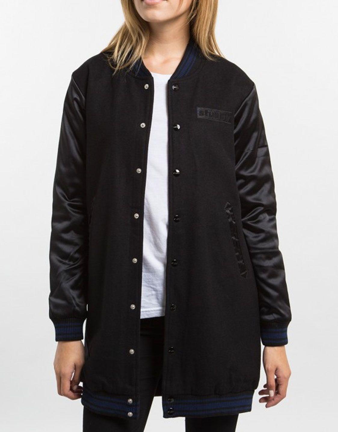 Stussy Women Longline bomber jacket black