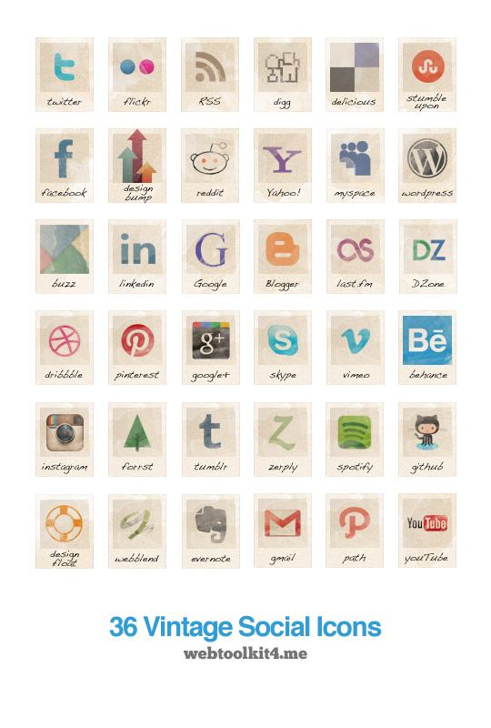 36 Free Vintage Social Icons Social Icons Design Freebie Social Media Icons