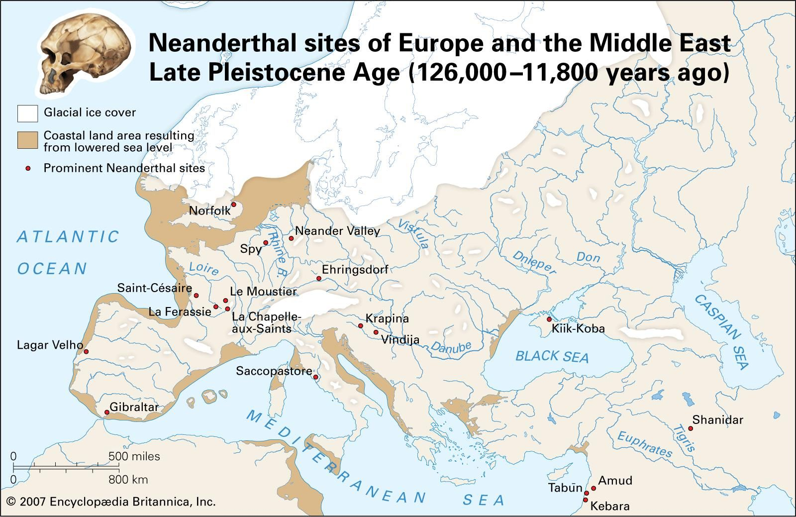 Neanderthal sites of Europe and the Middle East Late Pleistocene