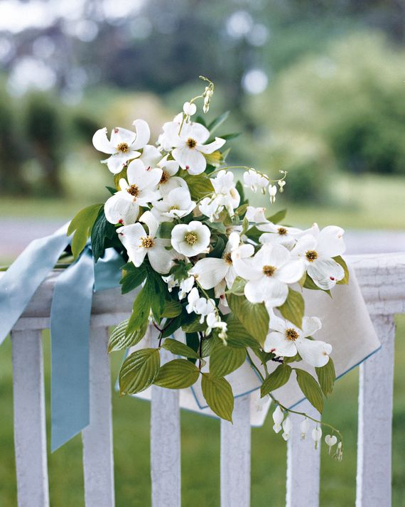 Dogwood petals and bleeding hearts are homey, charming, and ...