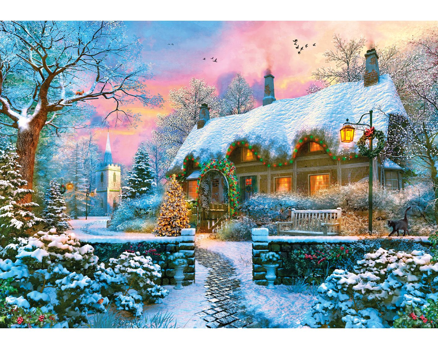 Church Lane Cottage Cottage Christmas Christmas Jigsaw Puzzles Cottage