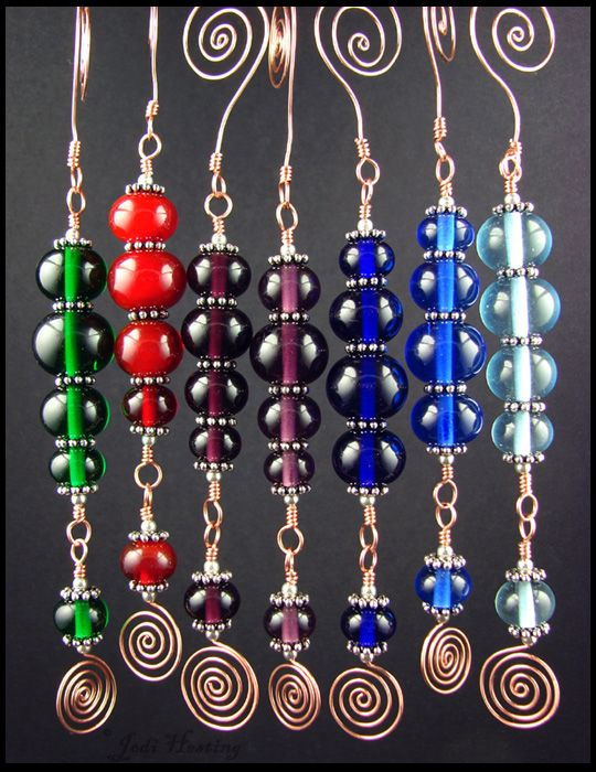 Some Christmas Ornaments made with my lampwork beads ...
