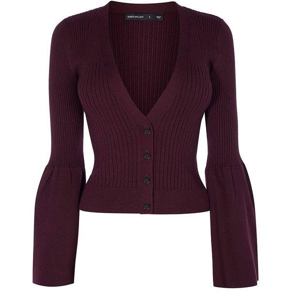 a60604244f1 Karen Millen V-neck Knitted Cardigan ($65) ❤ liked on Polyvore ...
