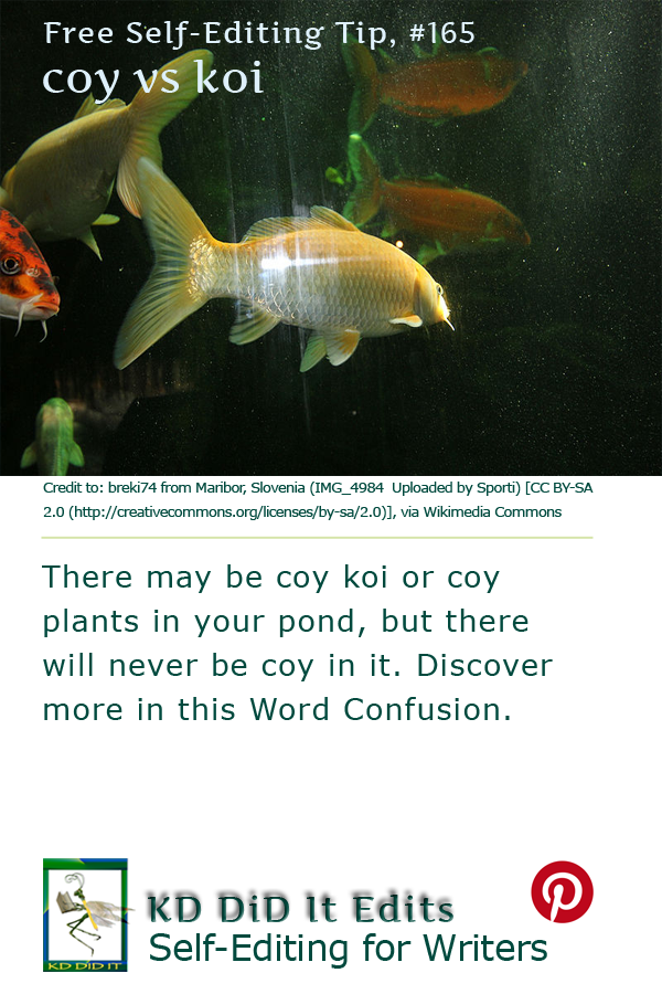 A Word Confusion for self-editing writers who prefer to be coy rather than resemble koi.