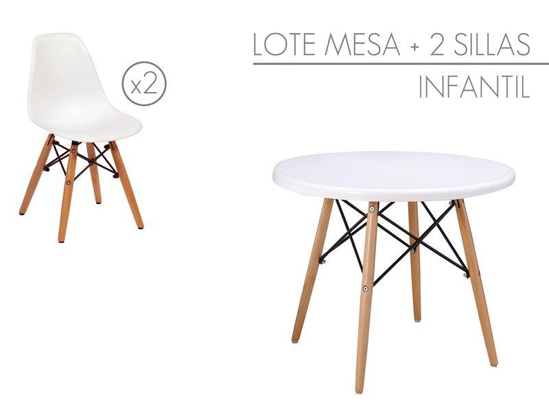 Conjunto infantil mesa y 2 sillas Eames pequeñas | Sillas eames ...
