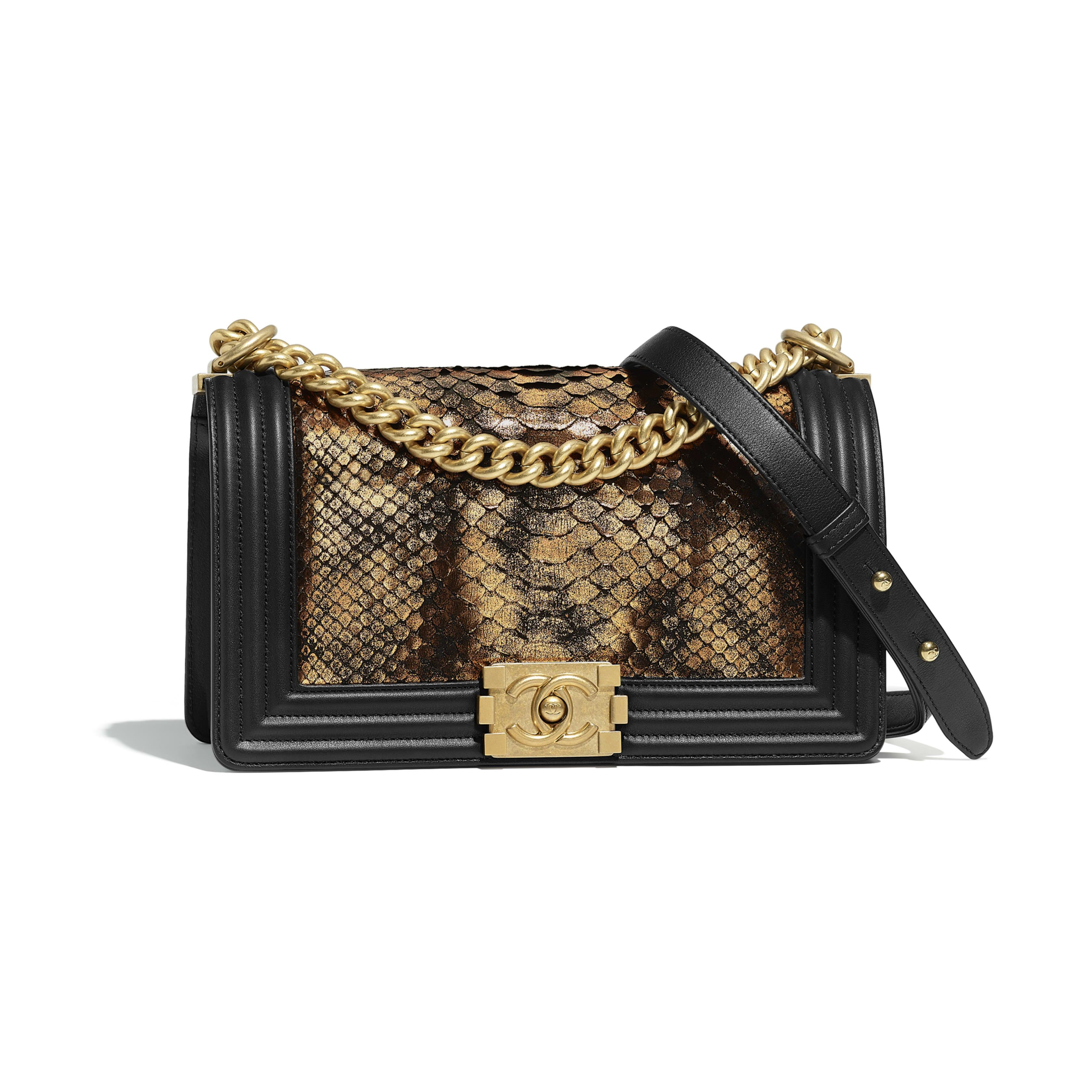 c369a231d3f2 BOY CHANEL Handbag Python, Calfskin & Gold-Tone Metal Bronze & Black - view  1 - see full sized version
