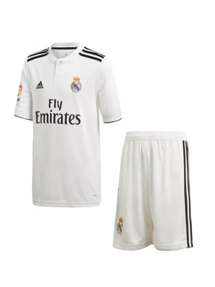 983cbce445 Kit Infantil Real Madrid Oficial Adidas 2018 2019 Lançamento Futtudo ...