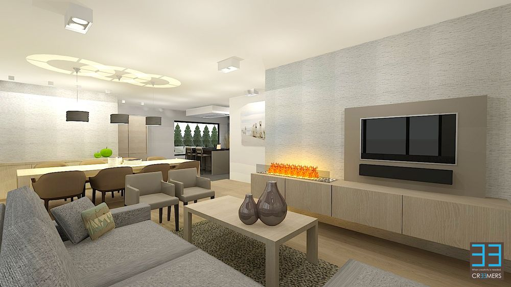 Renovation concept for interior and garden pool modern living area with the dining room and - Deco keuken kleur ...
