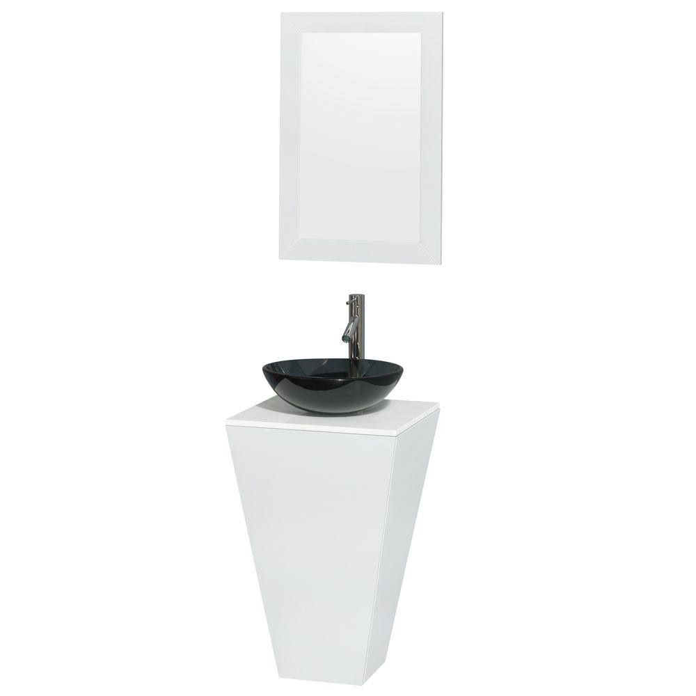 Photo of Wyndham WCSCS0420SGWWSB15M20 20 in. Pedestal Bathroom Vanity in Glossy White, White Man-Made Stone Countertop, Smoke Glass Sink, and 20 inch Mirror