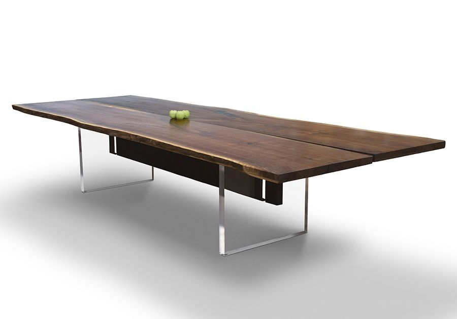 Live Edge Walnut Slab Dining Table With Square Aluminum Legs.   Live Edge Dining  Tables, From David Stine Woodworking   Pinterest   Walnut Slab, ...
