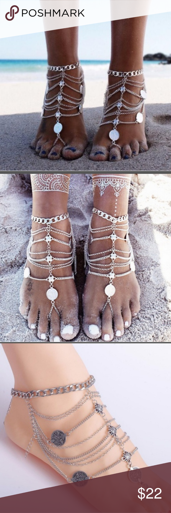 femme silver ankle anklet sandals women and for vintage lovely foot barefoot jewelry bell pin summer anklets chain bracelets