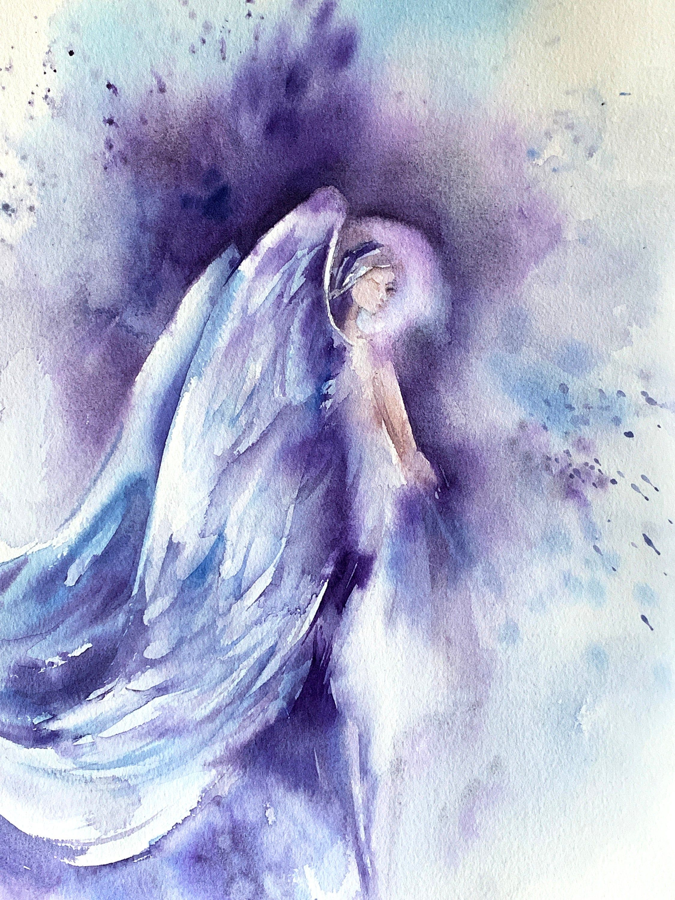 Angel In Purple Original Watercolour Painting Loose Style