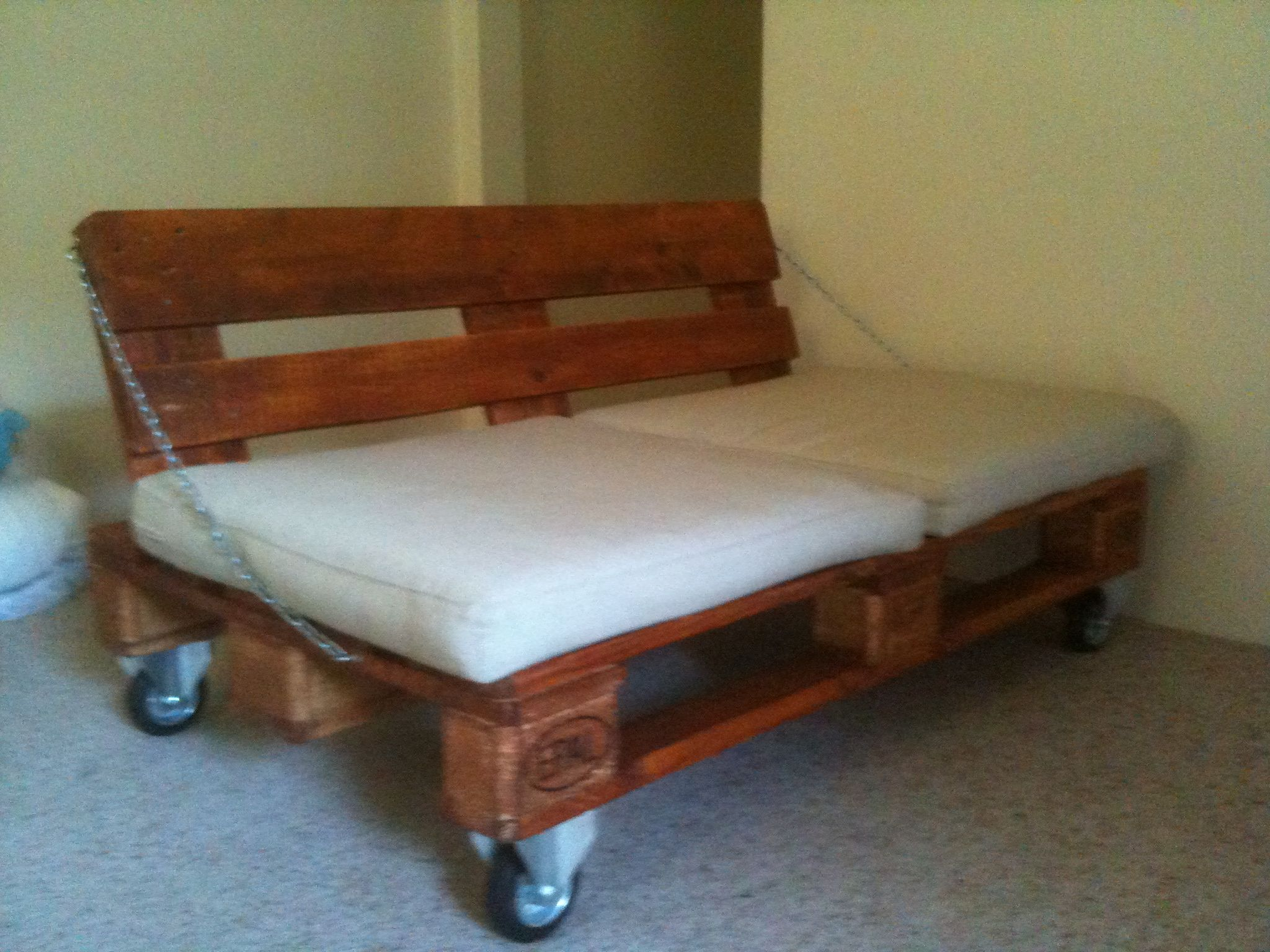 My DIY Euro Pallet Sofa On Industrial Caster Wheels With Stainless Steel  Chain Supports!