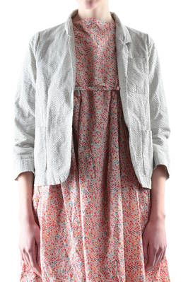 Daniela Gregis short jacket in washed and chequered cotton, one breast with small lapel, closure with large safety pin, sleeves above wrist with internal split, straight cut, one pocket sewn onto breast and two side pockets along the hemline - Spring/Summer - 100% cotton