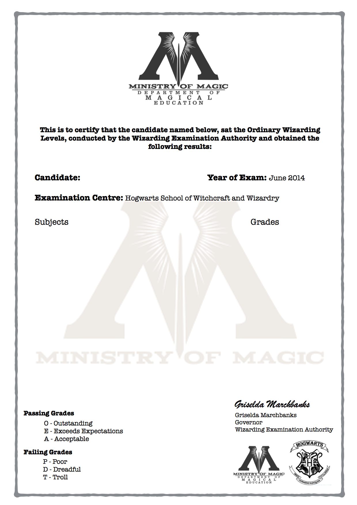 Harry Potter OWLS Certificate Blank Template  Harry Potter
