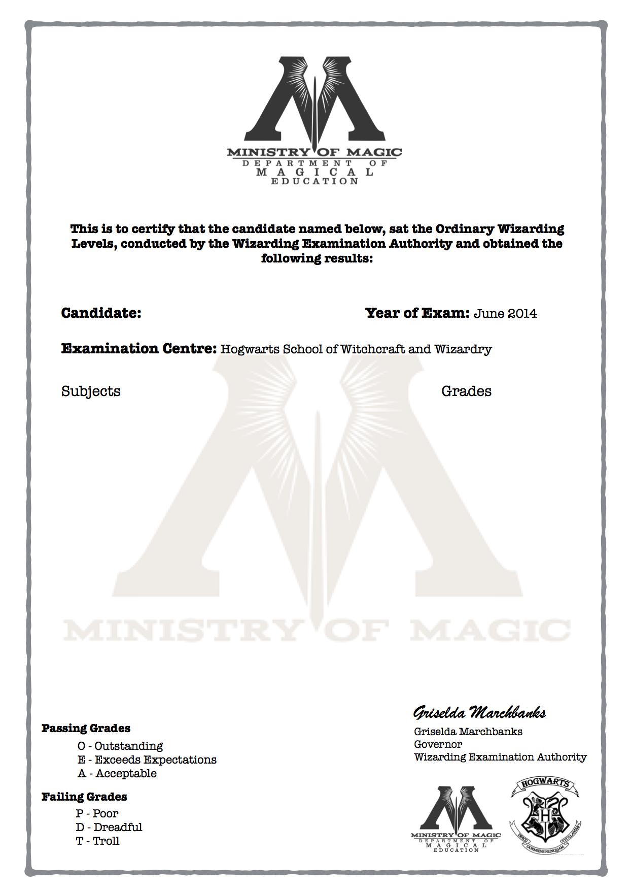 Harry Potter O W L S Certificate Blank Template