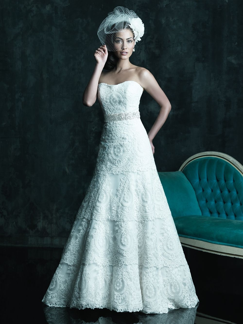 Tiered Lace & Organza A-Line Strapless Scoop Neckline Gown by Allure ...