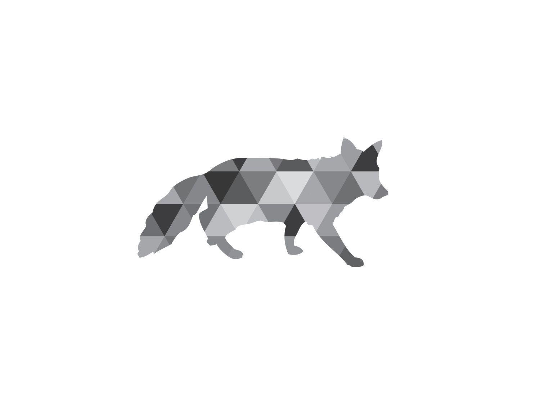 Fox wall art geometric black white grayscale от melindawooddesigns