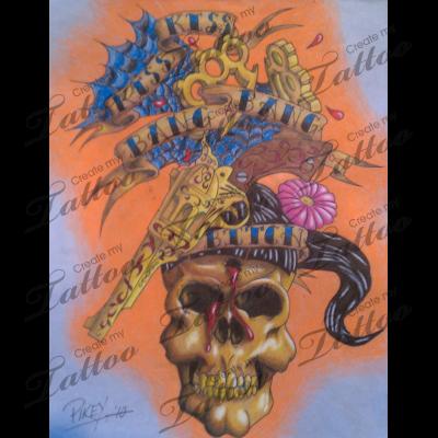 Marketplace Tattoo Kiss, Kiss, Bang, Bang #6306 | CreateMyTattoo.com
