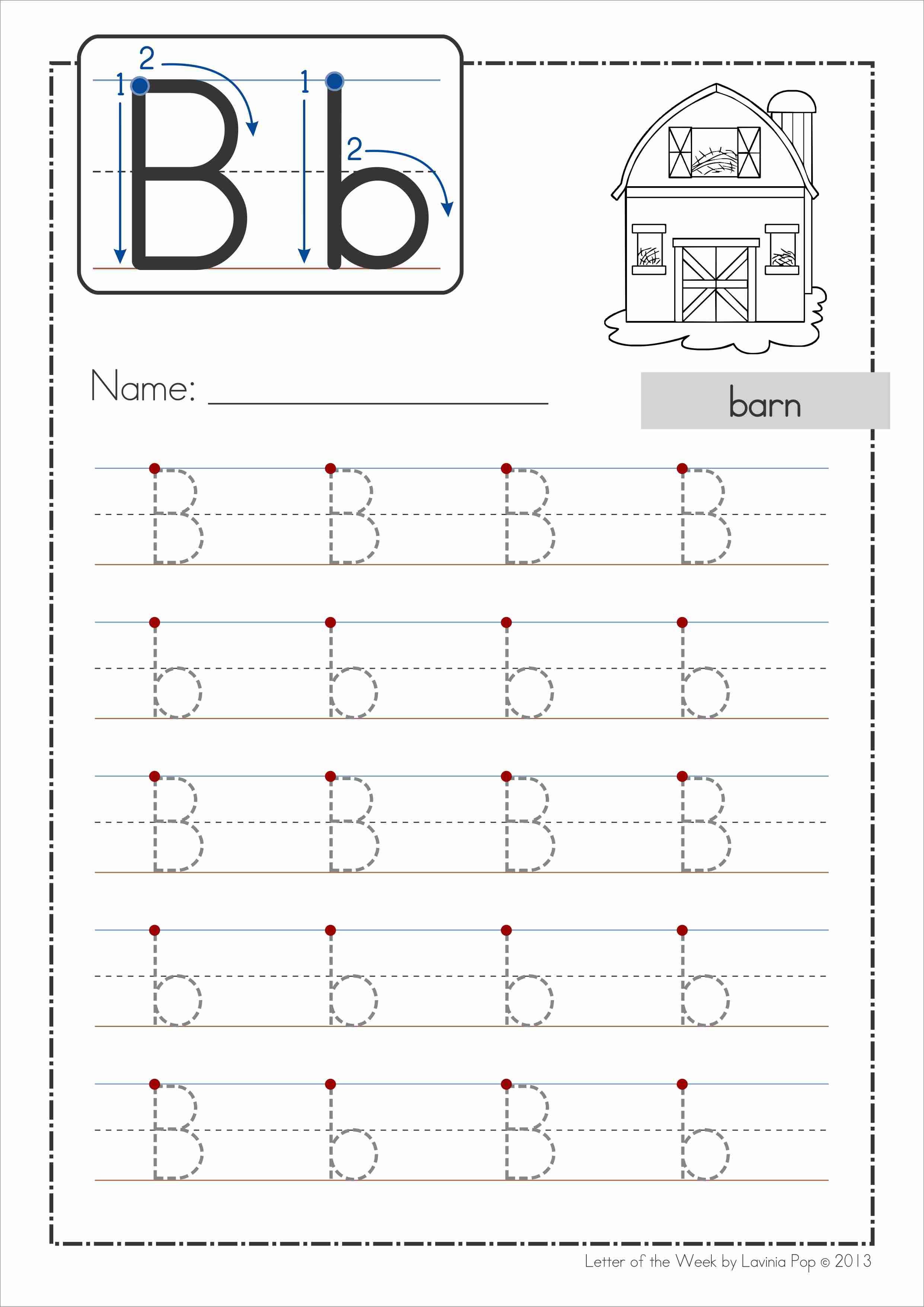 Phonics Letter of the Week Bb {FREE}. A HUGE unit (81 pages) with all that you need for a letter of the week curriculum. A page from the unit: Handwriting practice page