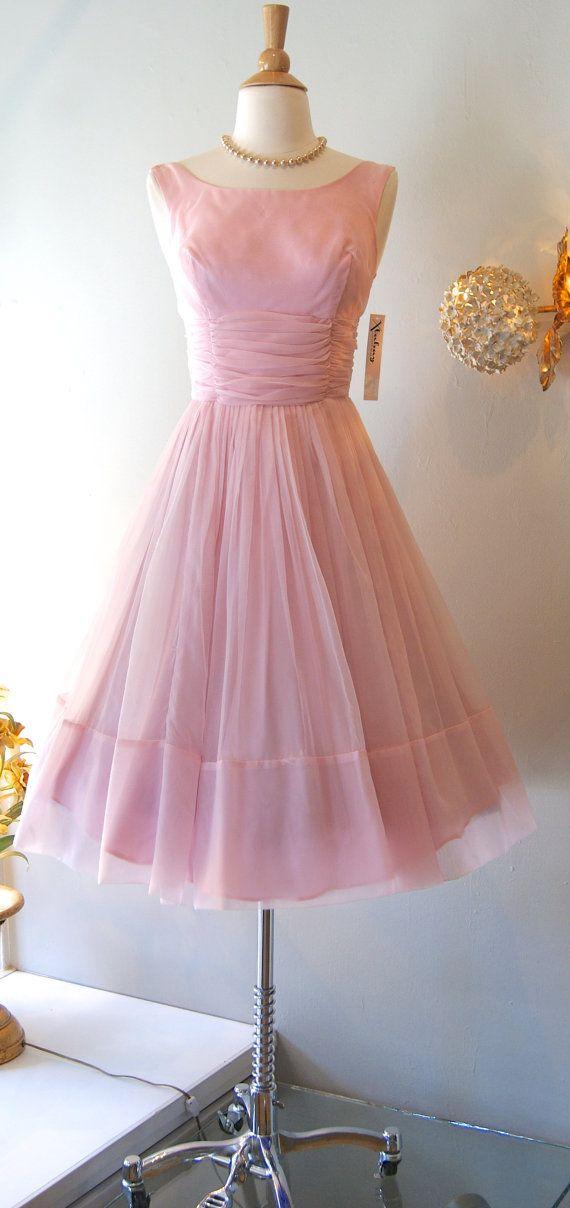1960\'s Dress // Vintage 60s Bubble Gum Pink Chiffon Party Dress on ...