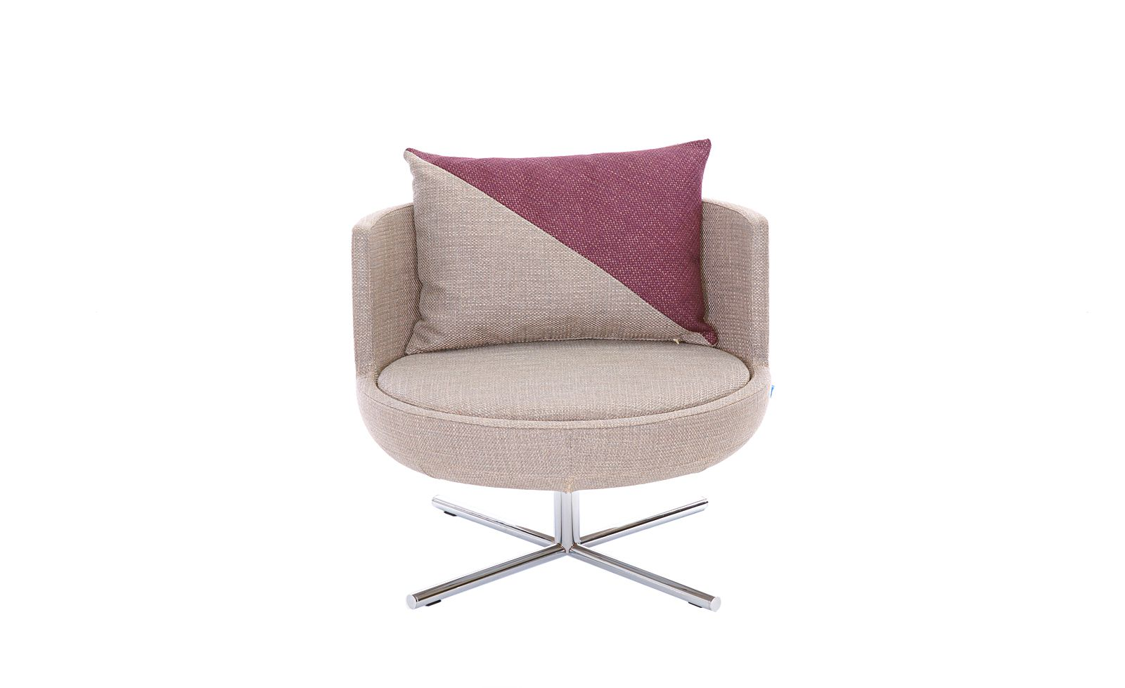 This Gorgeous And Comfortable Pink And Tan Swivel Chair Has A