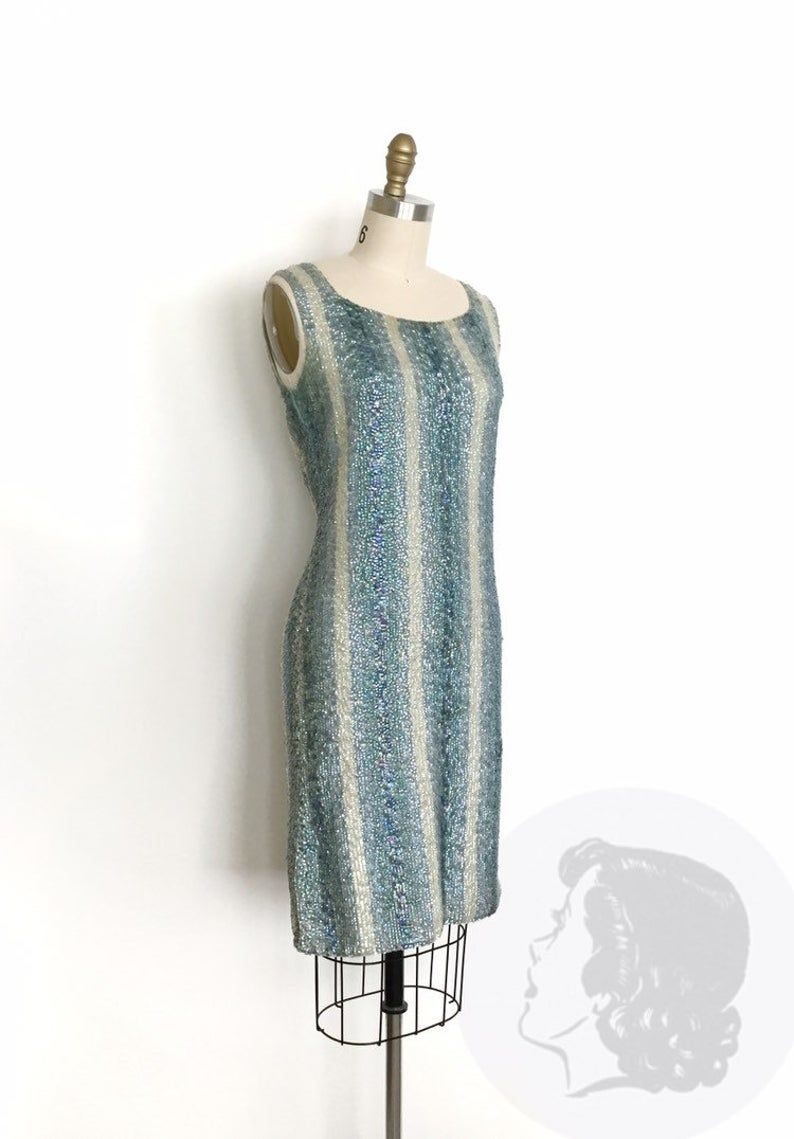 Vintage 1960s Dress 60s Iridescent Sequin Cocktail Dress Etsy [ 1139 x 794 Pixel ]