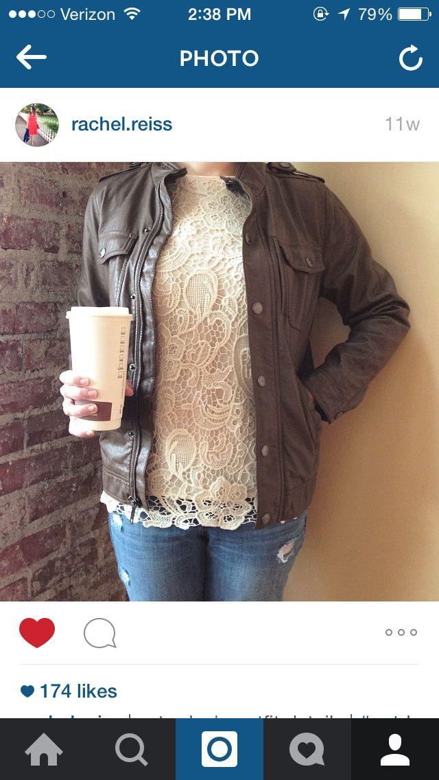bf9452468c Blush Lace top olive flak jacket jeans
