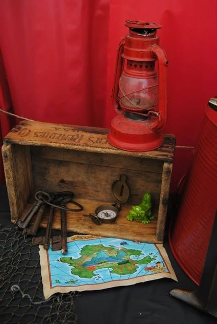 Keys and map decor at a Pirate Birthday Party!  See more party ideas at CatchMyParty.com!