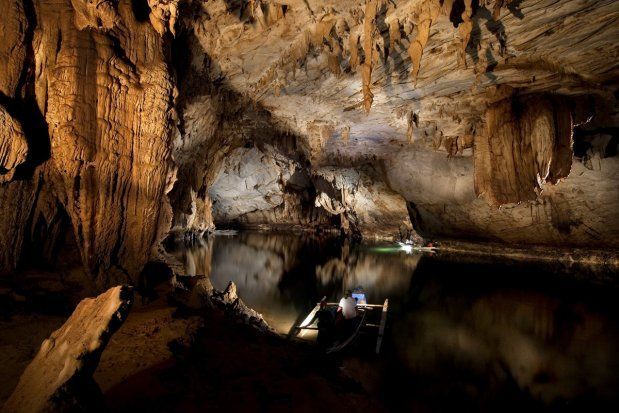Puerto Princesa: an underground cave/river in the Philipines