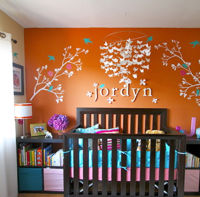 Girly Pink Nursery Decor: Who Knew Orange Could Be So Girly. Great Non Traditional