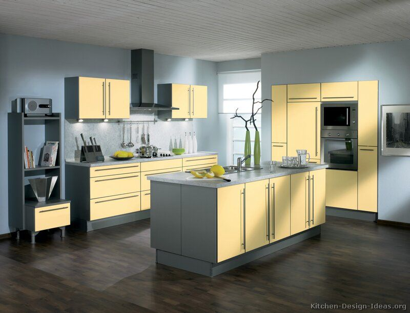 Kitchen design pictures of modern yellow kitchens kitchen for Light grey modern kitchen