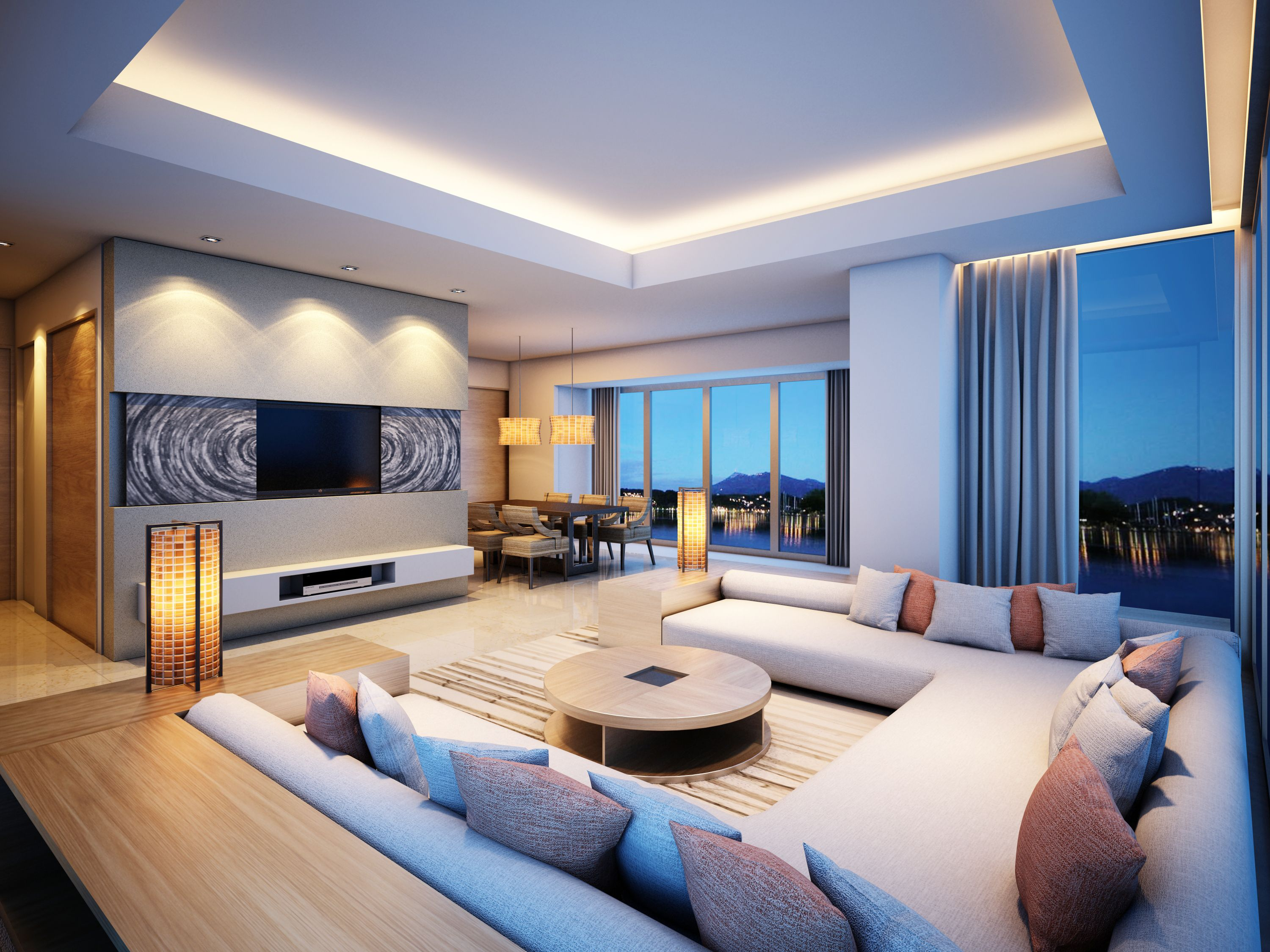 Modern Luxury Living Room With Purple Furniture And Decor Design Ideas