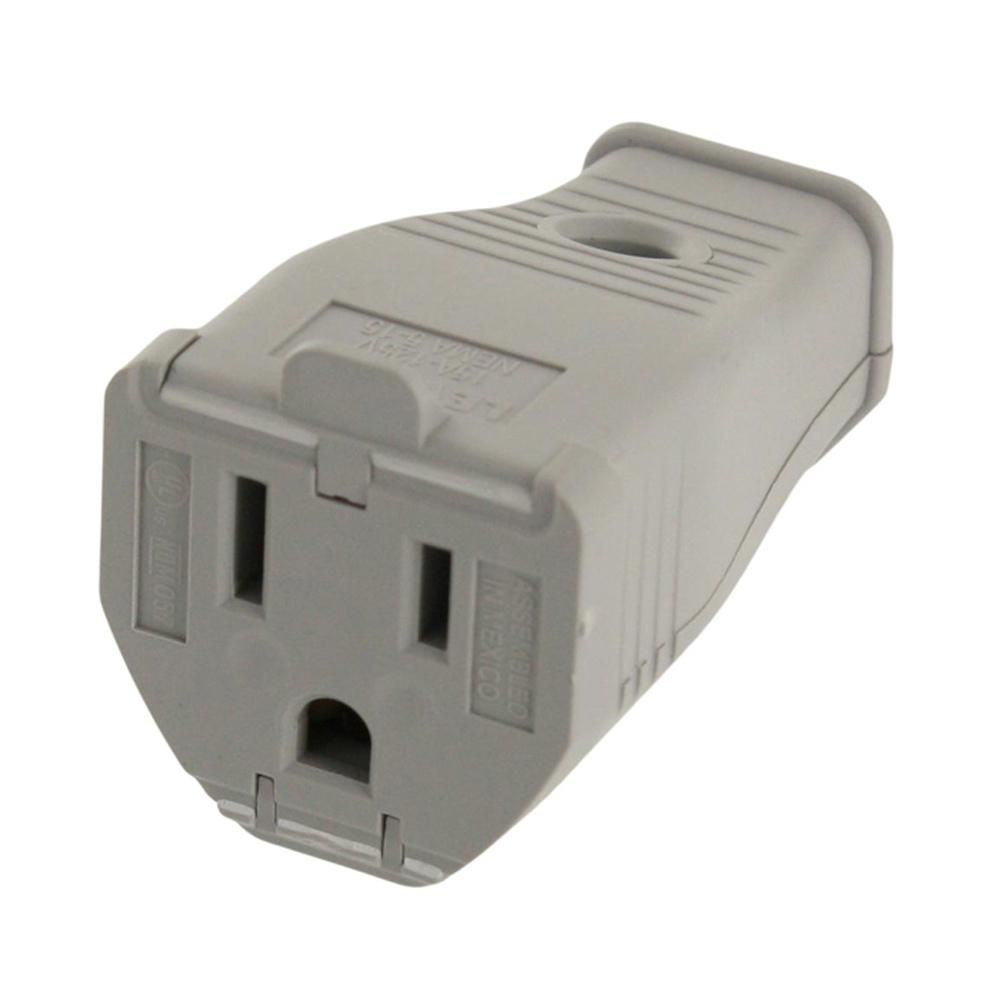 15 Amp 125-Volt 3-Wire Grounding Connector, Gray | Grey and Products