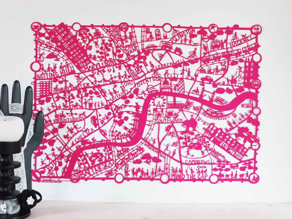 London Paper Cut - Pink
