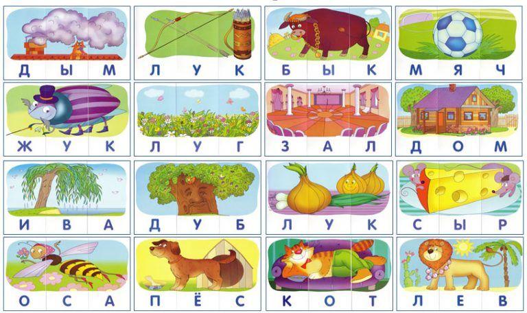 Разрезные картинки с подписями (буквы, слоги, слова ...