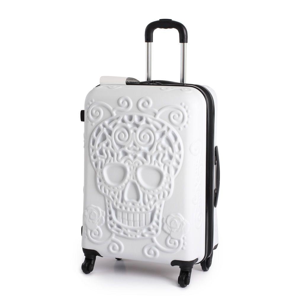 IT Luggage Medium White Skull 103 Litre 4 Wheel Hard Shell ...