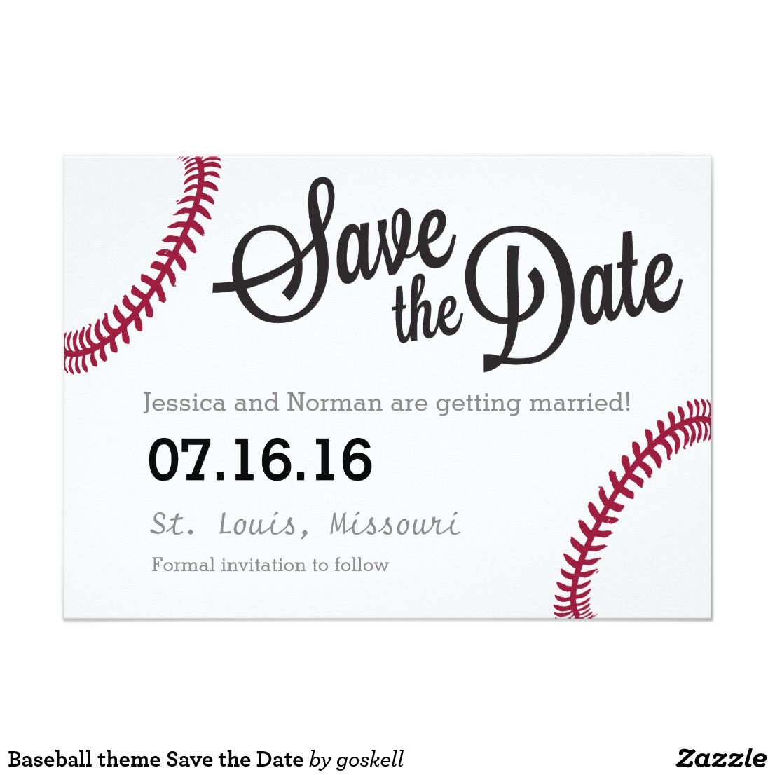 Baseball theme Save the Date Card | Baseball | Pinterest