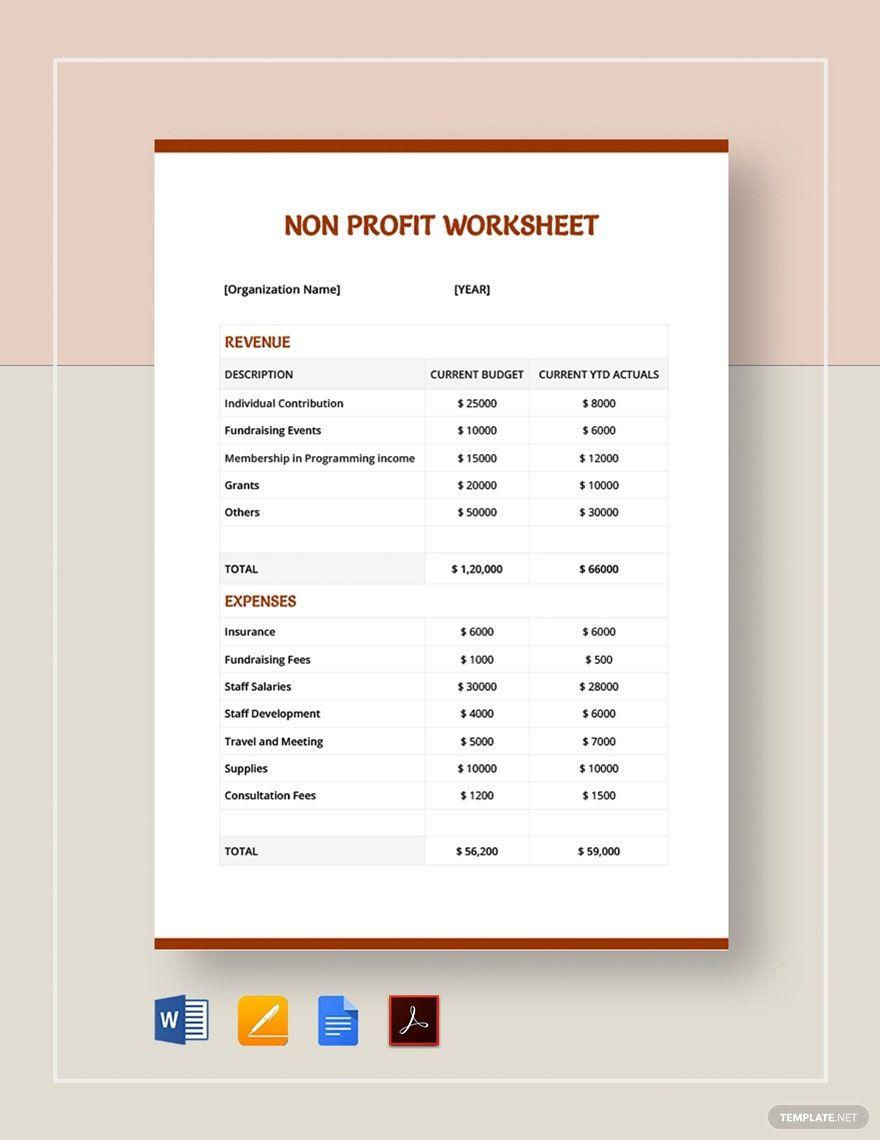 Non Profit Sheet Template in 2020 Non profit, Templates