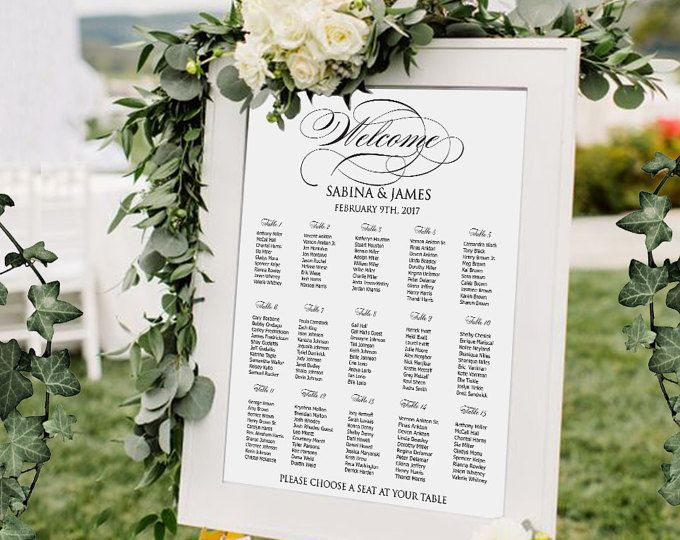 Large Wedding Seating Chart Printable Guest Table Assignment List
