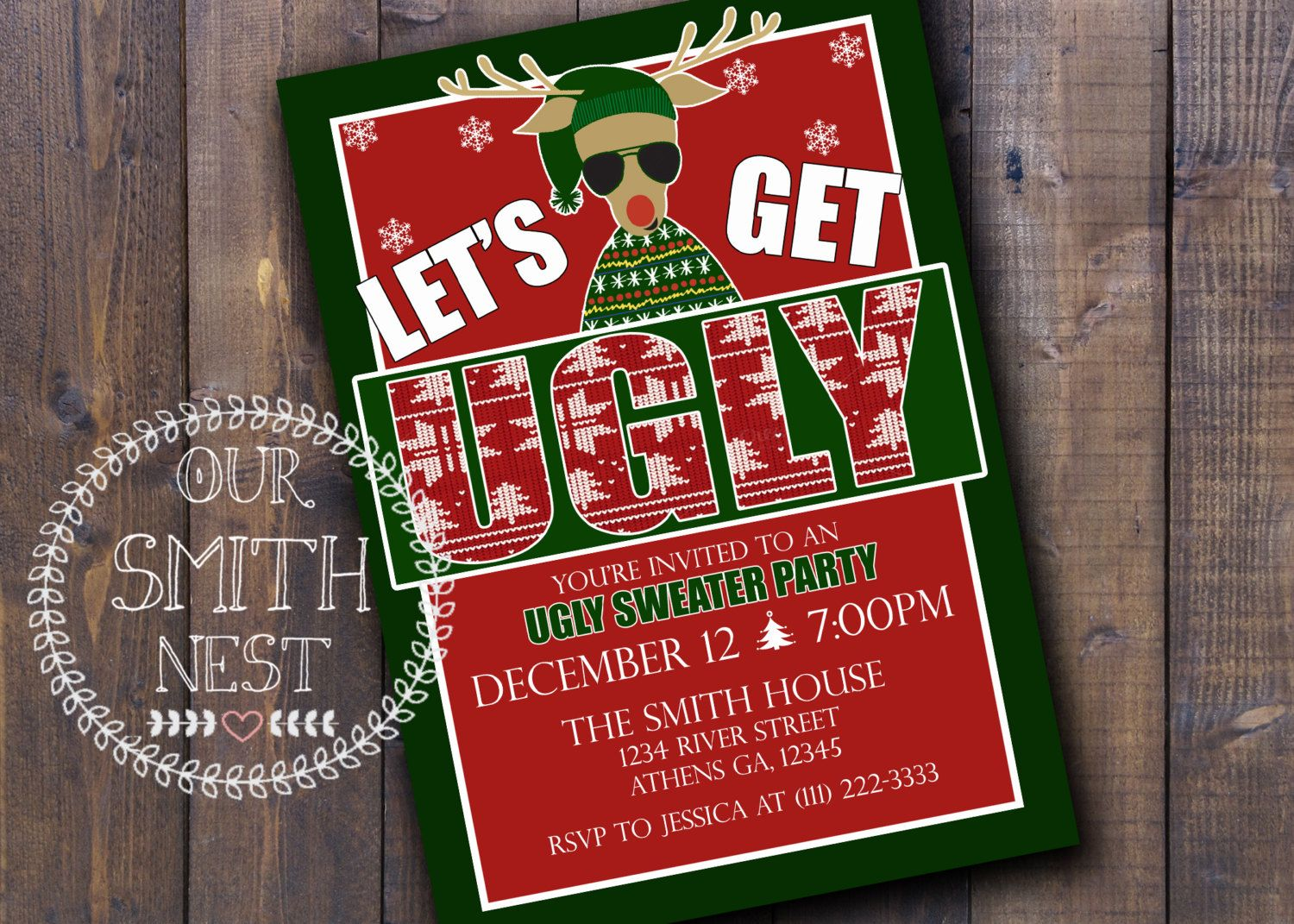 Ugly Sweater Party Invitation Diy Printable Customizable Digital